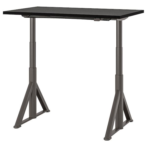 "IDÅSEN Desk sit/stand, black/dark gray, 47 1/4x27 1/2 """