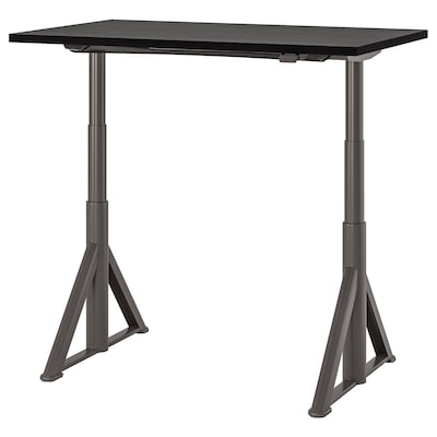 IDÅSEN Desk sit/stand, black/dark gray, 47 1/4x27 1/2 ""