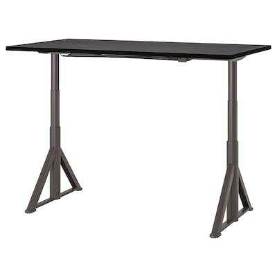 IDÅSEN Desk sit/stand, black/dark gray, 63x31 1/2 ""
