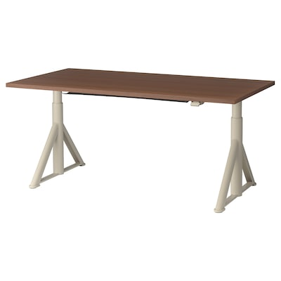 IDÅSEN Desk sit/stand, brown/beige, 63x31 1/2 ""