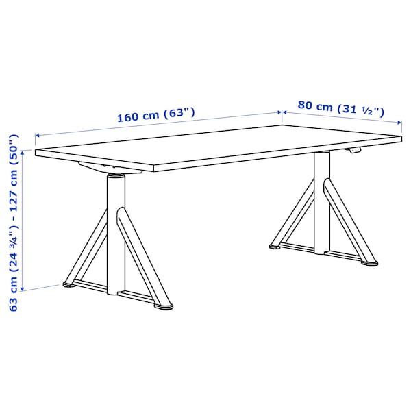 """IDÅSEN Desk sit/stand, brown/beige, 63x31 1/2 """""""