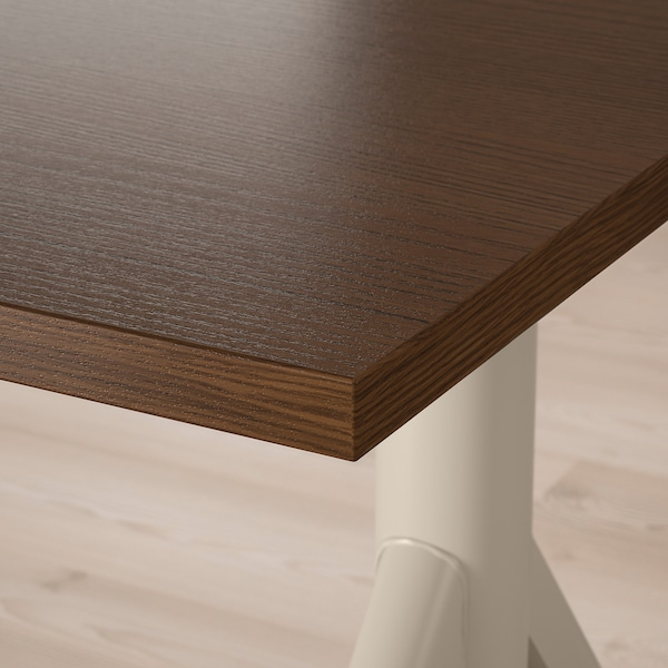 IDÅSEN Desk sit/stand, brown/beige, 47 1/4x27 1/2 ""