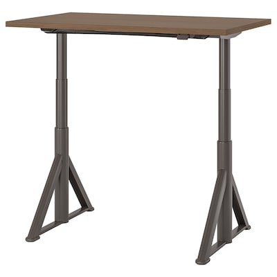 IDÅSEN Desk sit/stand, brown/dark gray, 47 1/4x27 1/2 ""