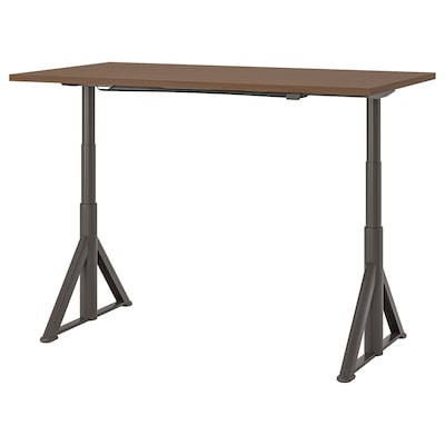 IDÅSEN Desk sit/stand, brown/dark gray, 63x31 1/2 ""