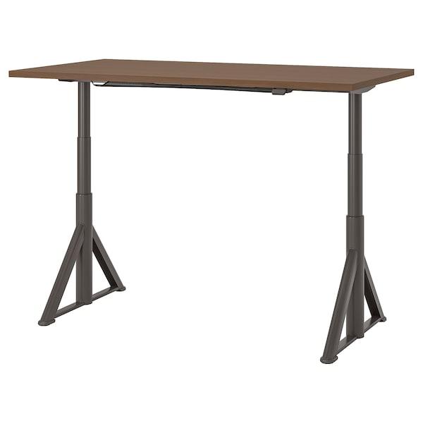 "IDÅSEN desk sit/stand brown/dark gray 63 "" 31 1/2 "" 24 3/4 "" 50 "" 154 lb"