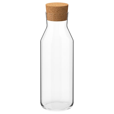 """IKEA 365+ carafe with stopper clear glass/cork 11 """" 34 oz"""