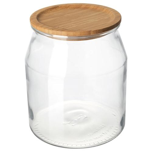 "IKEA 365+ jar with lid glass/bamboo 8 "" 7 "" 112 oz"