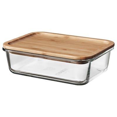 IKEA 365+ Food container with lid, rectangular glass/bamboo, 34 oz