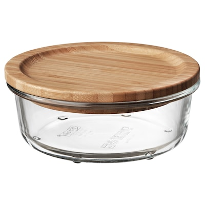 IKEA 365+ Food container with lid, round glass/bamboo, 14 oz