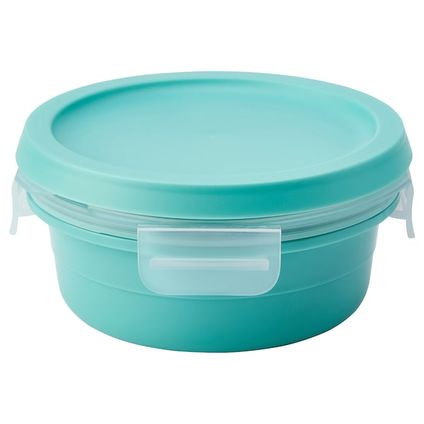 IKEA 365+ Lunch box with dry food compartment, round turquoise, 15 oz