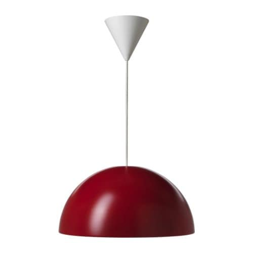 IKEA 365+ BRASA Pendant lamp   Plastic inner casing prevents glare.  Gives a directed light; good for lighting dining tables or coffee tables.