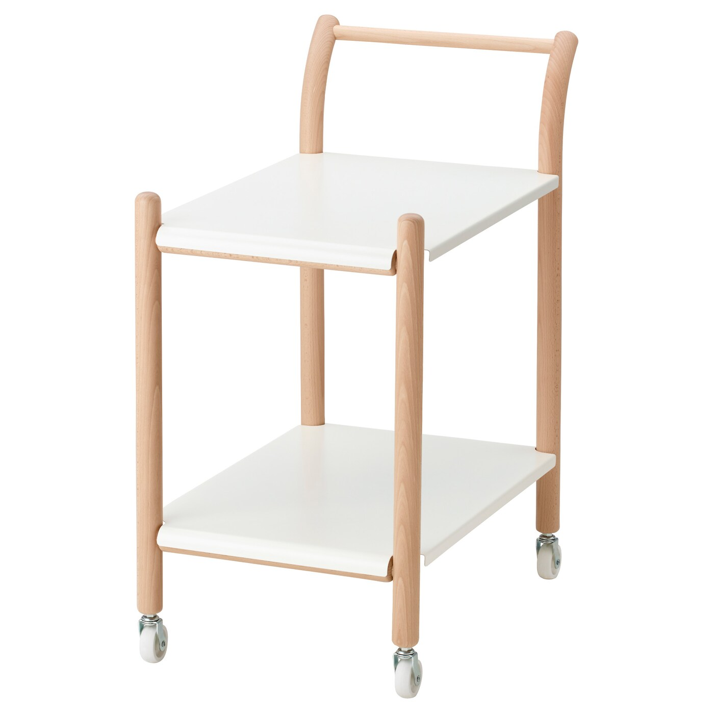 IKEA PS 2017 Side table on casters, beech, white
