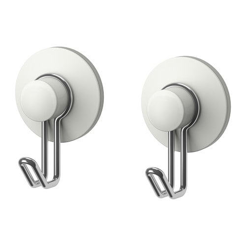 IMMELN Hook   Includes suction cups that grip smooth surfaces such as glass, mirrors and tiles.