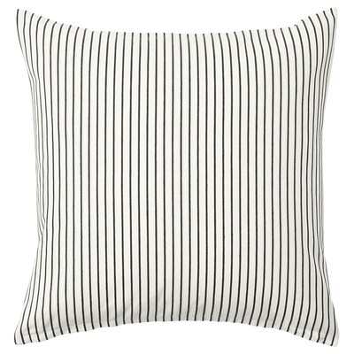 INGALILL Cushion cover, white/dark gray striped, 20x20 ""