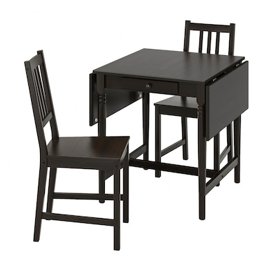 INGATORP / STEFAN Table and 2 chairs, black-brown/brown-black, 25 5/8/48 3/8x30 3/4 ""