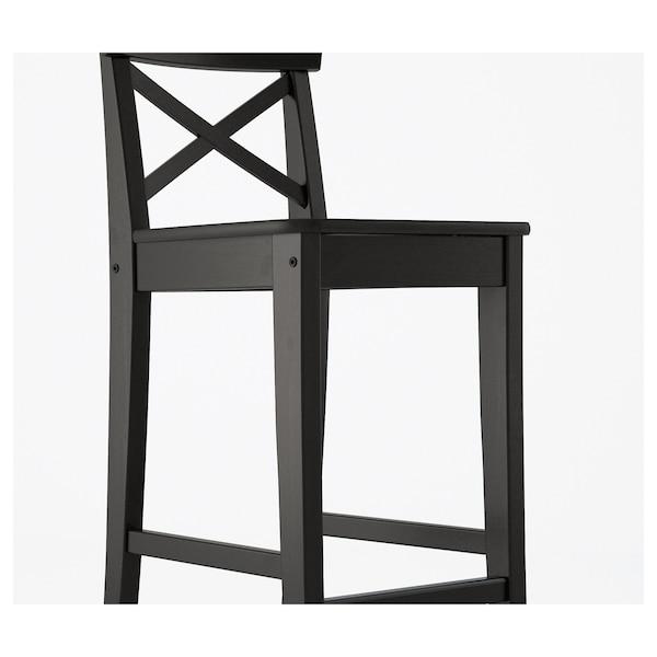 "INGOLF Bar stool with backrest, brown-black, 24 3/4 """