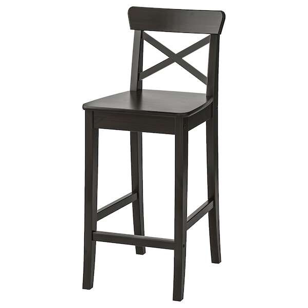 INGOLF Bar stool with backrest, brown-black