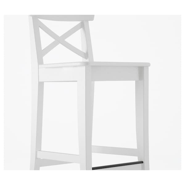 Incredible Ingolf Bar Stool With Backrest White Andrewgaddart Wooden Chair Designs For Living Room Andrewgaddartcom