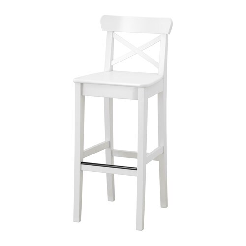 INGOLF Bar stool with backrest   Footrest for extra sitting comfort.