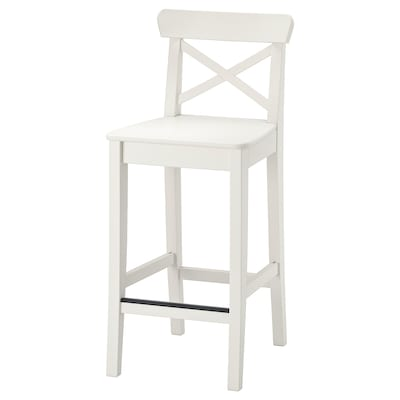 INGOLF Bar stool with backrest, white, 24 3/4 ""