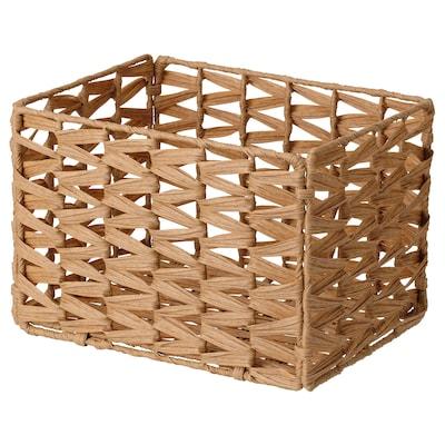 "INSVEP Basket, plastic rattan brown, 13x9 ¾x9 ½ """