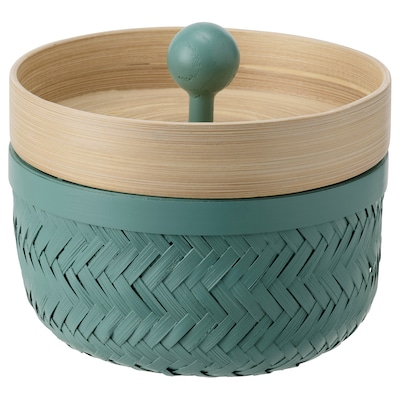 INSVEP Box with lid, set of 2, bamboo/turquoise
