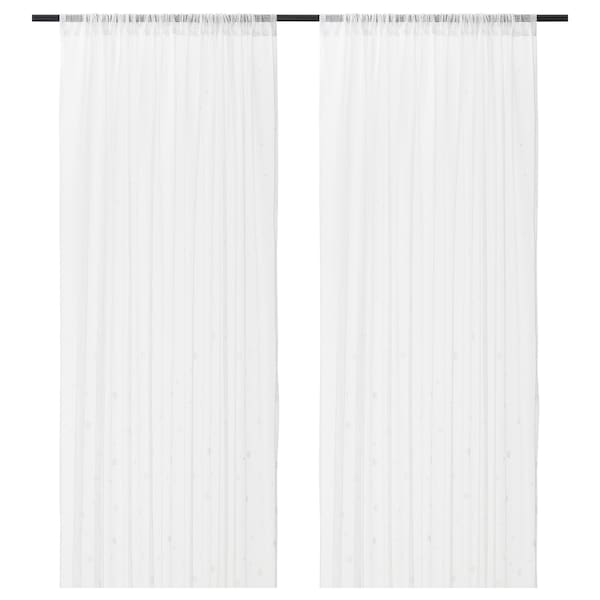 "IRMALI Sheer curtains, 1 pair, white dots, 57x98 """