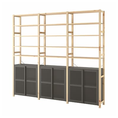 IVAR 3 sections/cabinet/shelves, pine/gray mesh, 102x11 3/4x89 ""