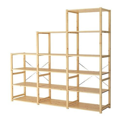 IVAR 3 section shelving unit   Untreated solid pine is a durable natural material that can be painted, oiled or stained according to preference.