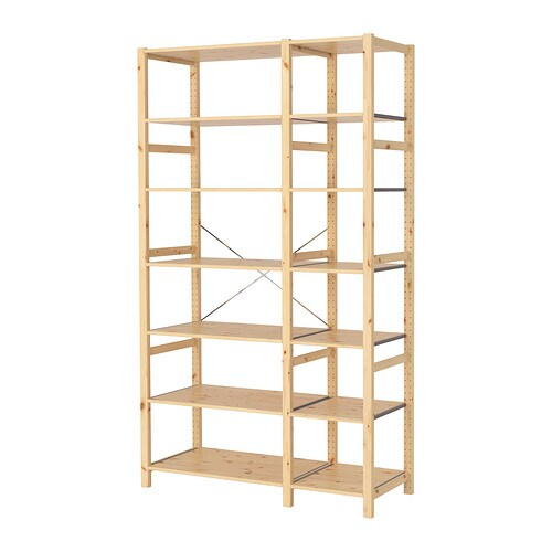 IVAR 2 section shelving unit   Untreated solid pine is a durable natural material that can be painted, oiled or stained according to preference.
