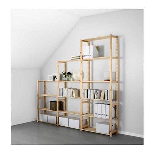 ivar 3 section shelving unit 259x30x226 cm ikea. Black Bedroom Furniture Sets. Home Design Ideas