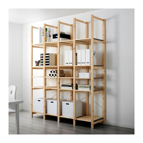 IVAR 4 section shelving unit   Untreated solid pine is a durable natural material that can be painted, oiled or stained according to preference.