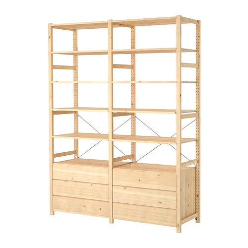 IVAR 2 sections/shelves/chest   Untreated solid pine is a durable natural material that can be painted, oiled or stained according to preference.