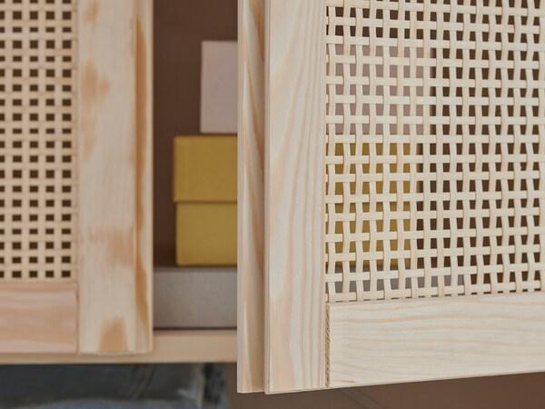 "IVAR Shelf unit with doors, pine, 35x11 3/4x70 1/2 """