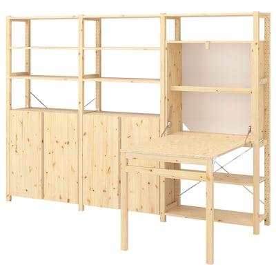 """IVAR Shelving unit w tbl/cabinets/shlvs, pine, 102x11 3/4-41x70 1/4 """""""