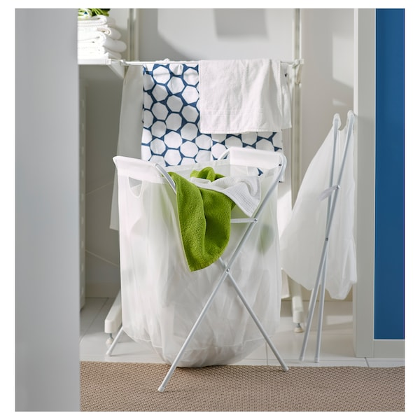 JÄLL Laundry bag with stand, white, 18 gallon