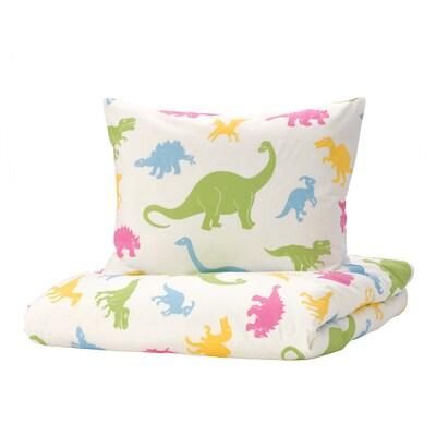 JÄTTELIK Duvet cover and pillowcase, dinosaur/multicolor, Twin