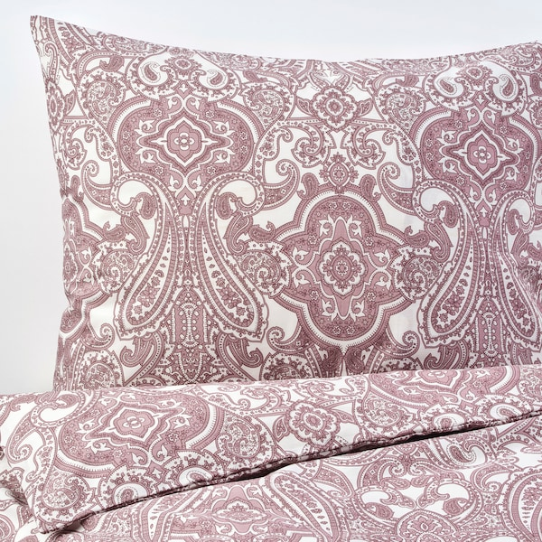JÄTTEVALLMO Duvet cover and pillowcase(s), white/dark pink, Twin