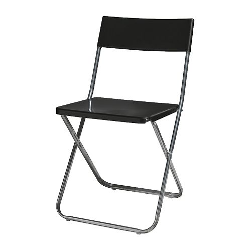 JEFF Folding chair   Folds flat to save space when not in use.  Can be hung on a hook on the wall; clears floor space.