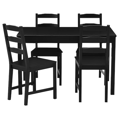 JOKKMOKK Table and 4 chairs, black-brown