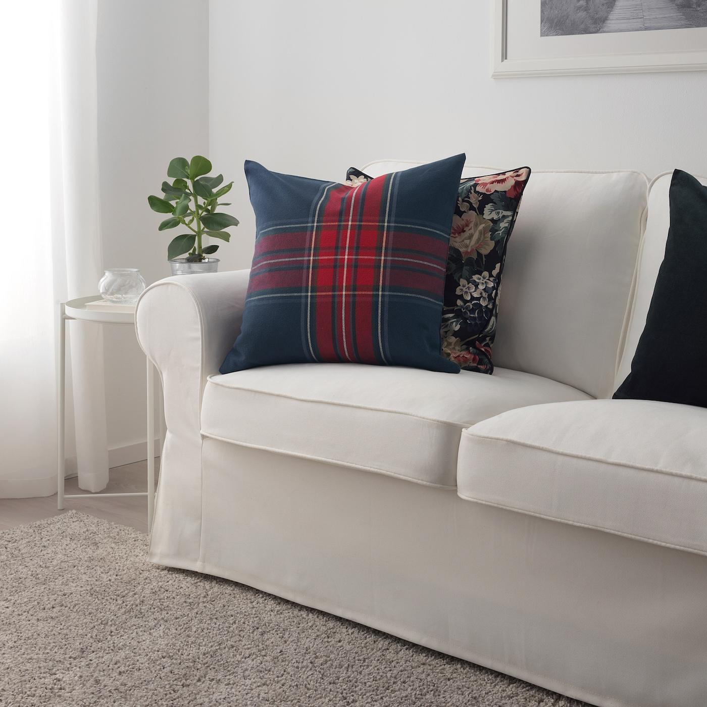 Junhild Cushion Cover Blue Red Ikea