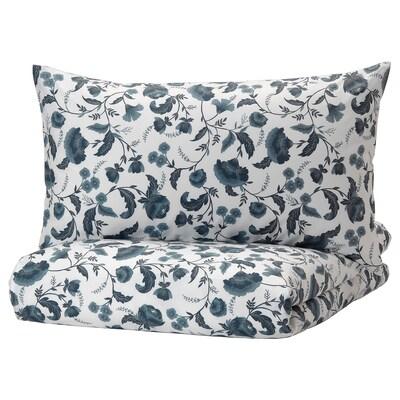 KÄLLFRÄNE Duvet cover and pillowcase(s), white/blue, Full/Queen (Double/Queen)