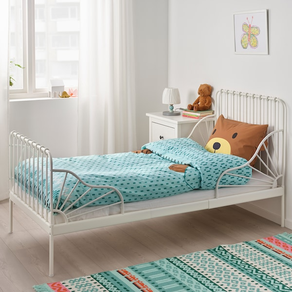 KÄPPHÄST Duvet cover and pillowcase(s), bear turquoise, Twin