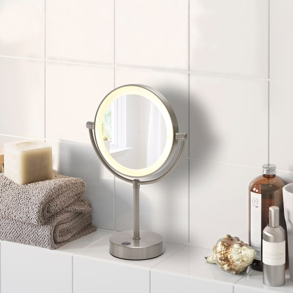 """KAITUM Mirror with built-in light, battery operated, 7 7/8 """""""