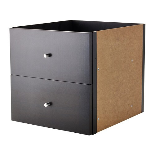 Kallax insert with 2 drawers black brown ikea - Porte bibliotheque ikea ...