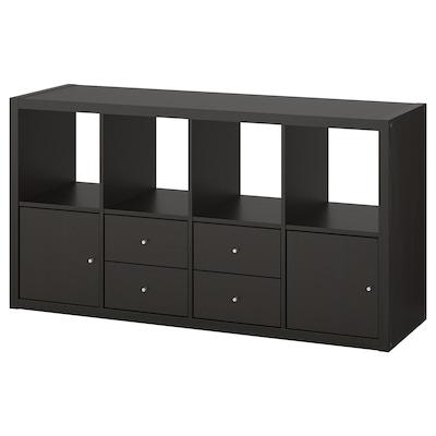 """KALLAX Shelf unit with 4 inserts, black-brown, 30 3/8x57 7/8 """""""
