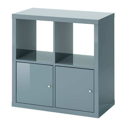 kallax shelf unit with doors high gloss gray turquoise ikea. Black Bedroom Furniture Sets. Home Design Ideas