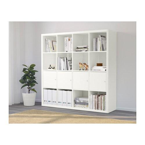 Kallax shelf unit with 4 inserts white ikea for Libreria ikea kallax