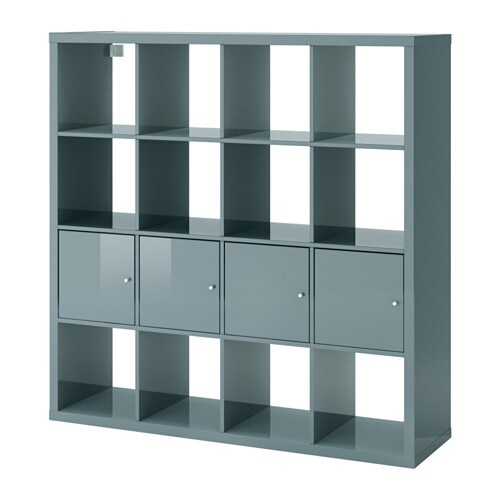 Kallax shelf unit with 4 inserts high gloss gray turquoise ikea - Bibliotheque cube ikea ...