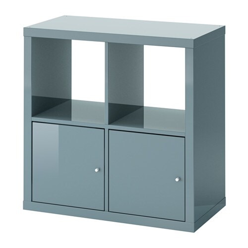 kallax shelving unit with doors high gloss gray. Black Bedroom Furniture Sets. Home Design Ideas